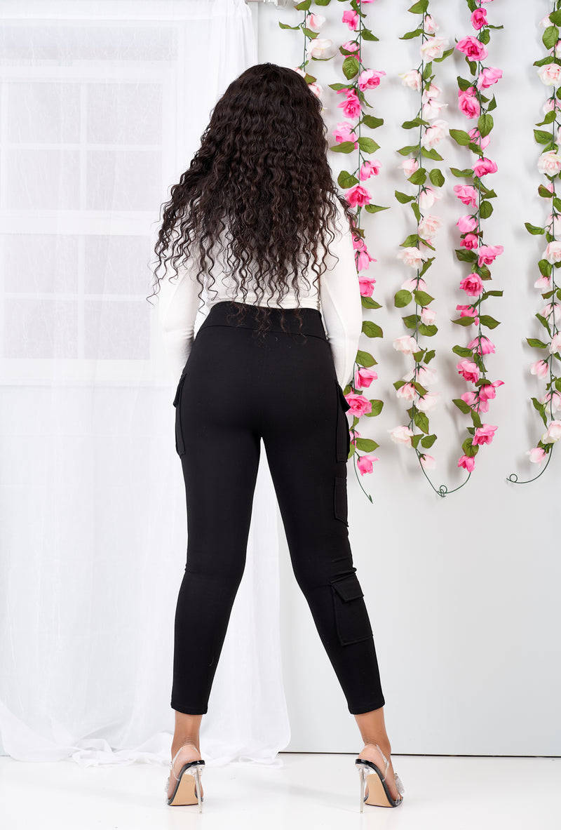 So Comfy Cargo Stretch Pants (Black)-NYCOWLL