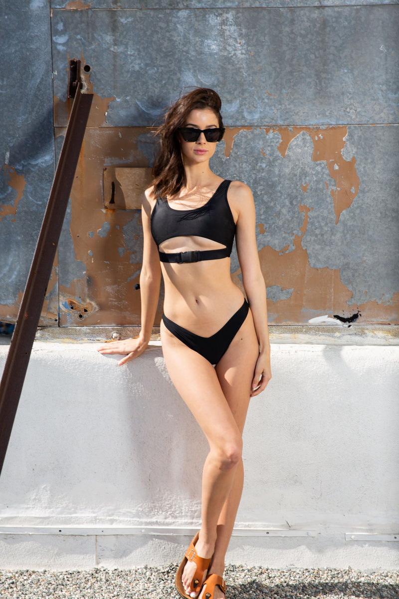 Tabitha 2 Piece Buckle Swim Set (Black)