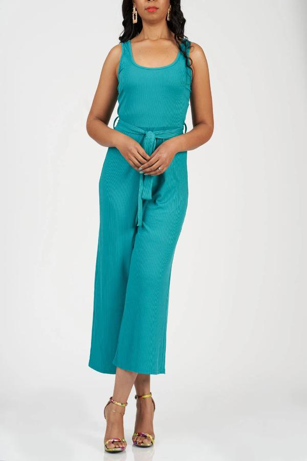 Essential Ribbed Jumpsuit (Teal)