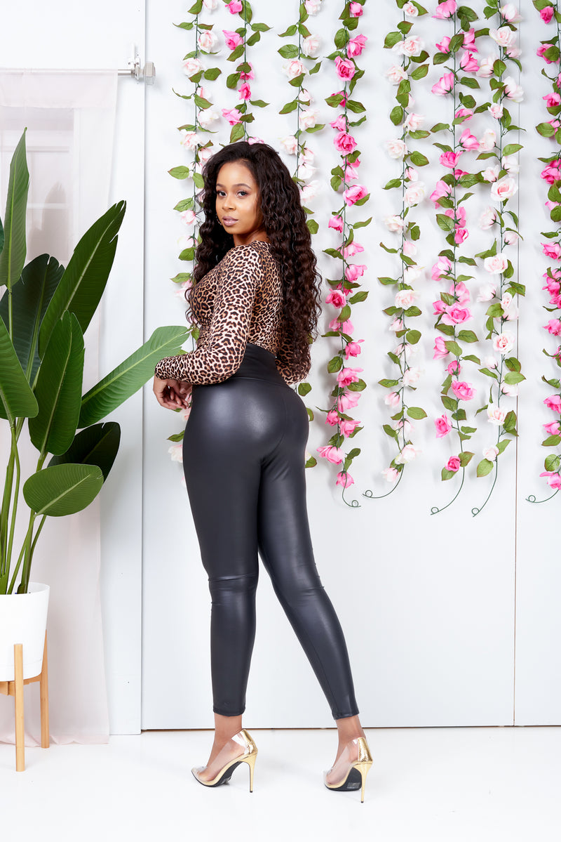 Waist Trim Faux Leather High Waist Leggings-NYCOWLL