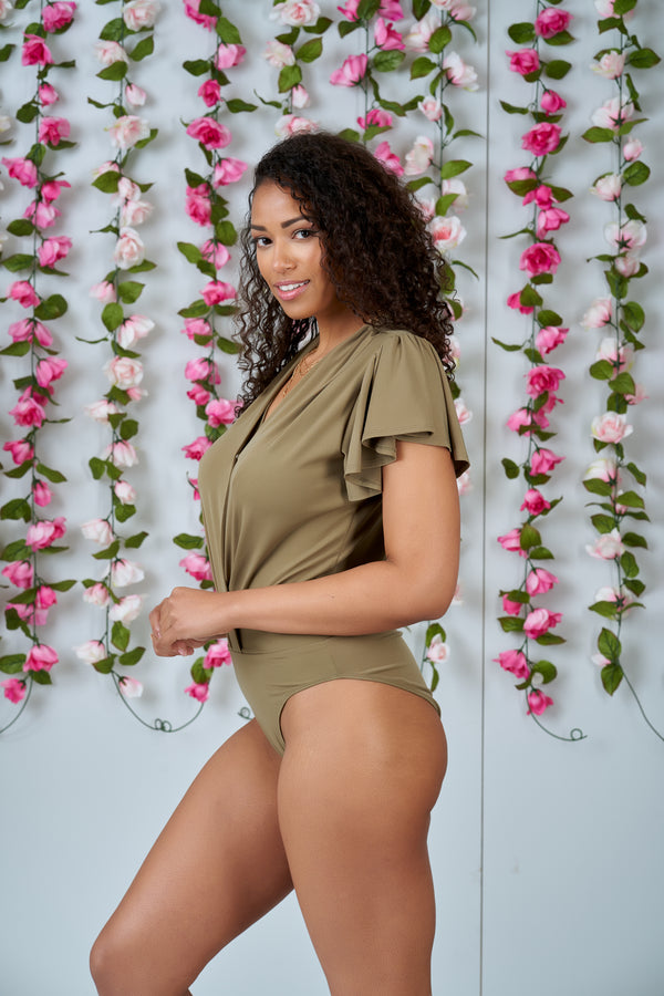With Purpose Wrap Butterfly Sleeve Bodysuit (Olive)