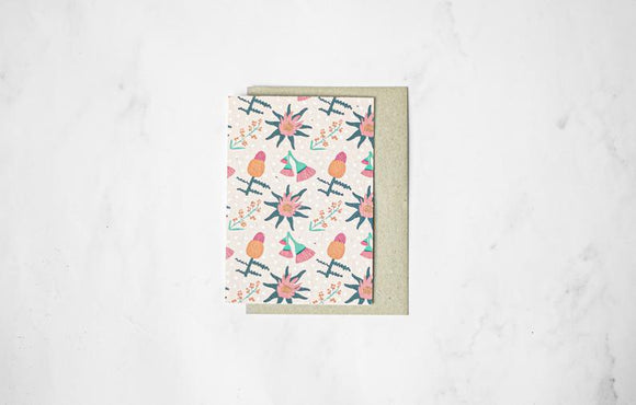 Floral Pattern - Plantable Seeded Paper Greeting Card