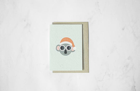 Santa Koala - Plantable Seeded Paper Greeting Card