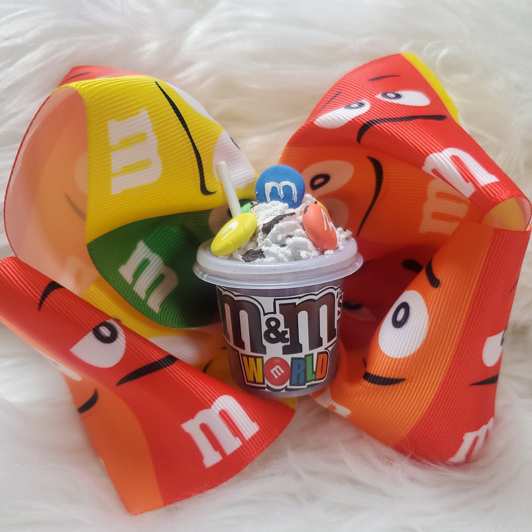 M & M Inspired hair bow