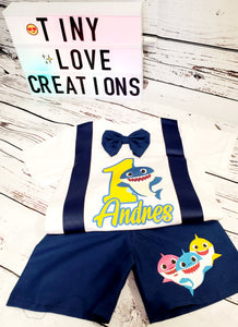 Blue Baby Shark Birthday Set