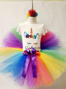 Rainbow Unicorn Tutu Set