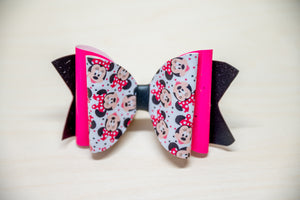 Neon Pink Minnie Bow