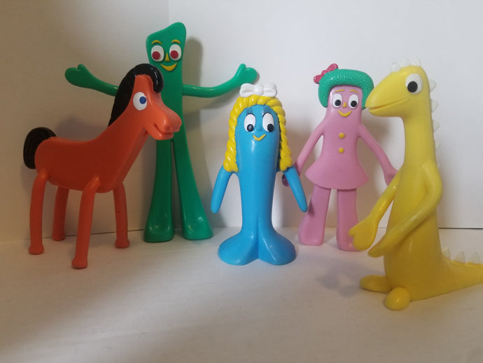 2001 Gumby Set of 5 Rubber Figures