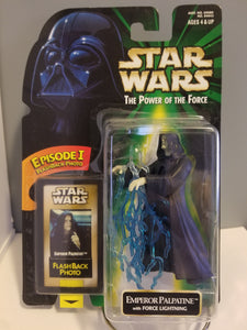 1998 Star Wars POTF2 Emperor Palpatine with Flashback Photo Carded Figure