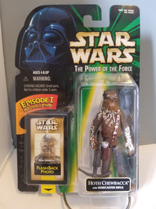 1998 Star Wars POTF2 Hoth Chewbacca Green Carded Figure with Flashback Photo