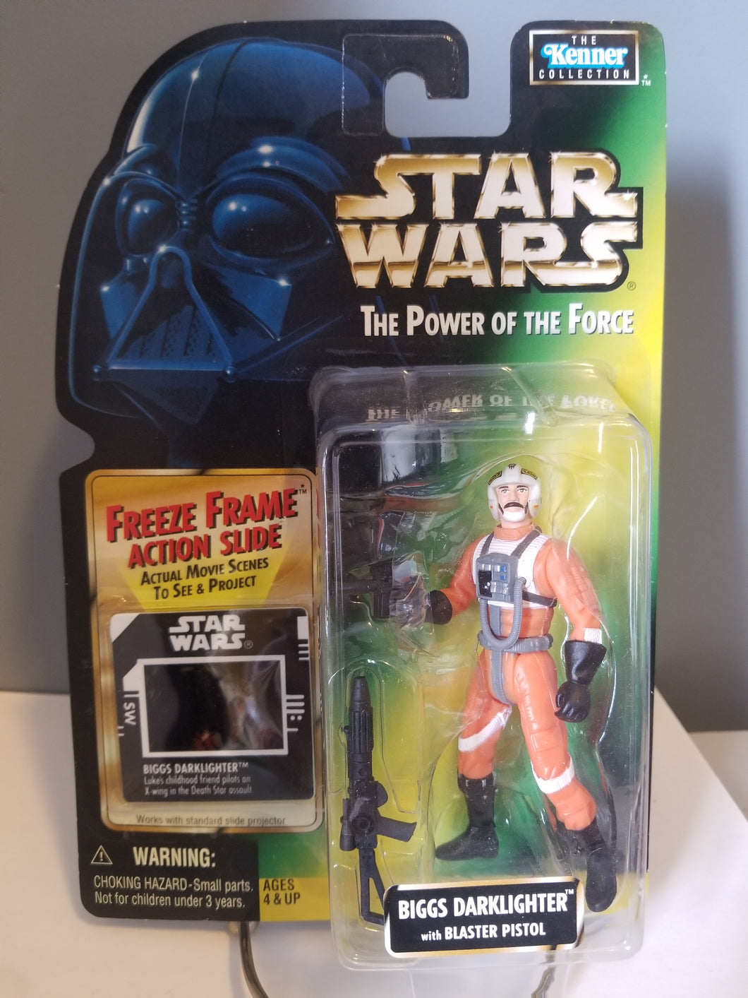 1997 Star Wars POTF2 Biggs Darklighter Green Carded Figure with Freeze Frame