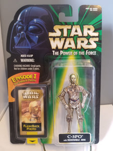1998 Star Wars POTF2 C-3PO Removable Arm Green Carded Figure with Flashback Photo