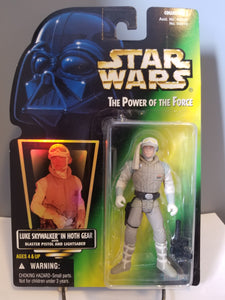 1996 Star Wars POTF2 Luke Skywalker in Hoth Gear Green Carded Figure