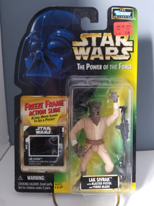 1997 Star Wars POTF2 Lak Sivrak Green Carded Figure with Freeze Frame