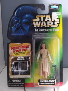 1997 Star Wars POTF2 Princess Leia Organa in Ewok Celebration Outfit Green Carded Figure with Freeze Frame