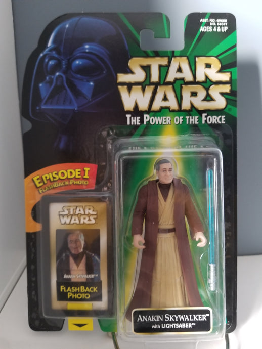 1998 Star Wars POTF2 Anakin Skywalker Green Carded Figure with Flashback Photo