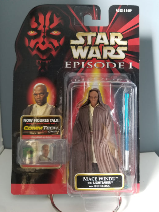1998 Star Wars Episode 1 Red Carded Mace Windu with CommTech Chip