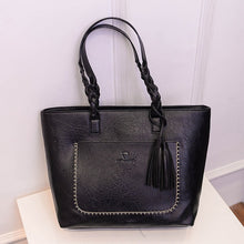Load image into Gallery viewer, large black braided shoulder bag