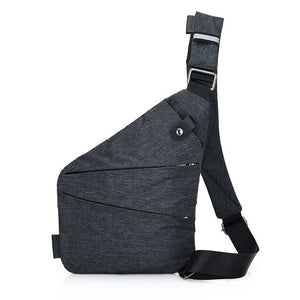 gray cross-body bag