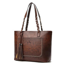 Load image into Gallery viewer, large dark brown tassel hand bag