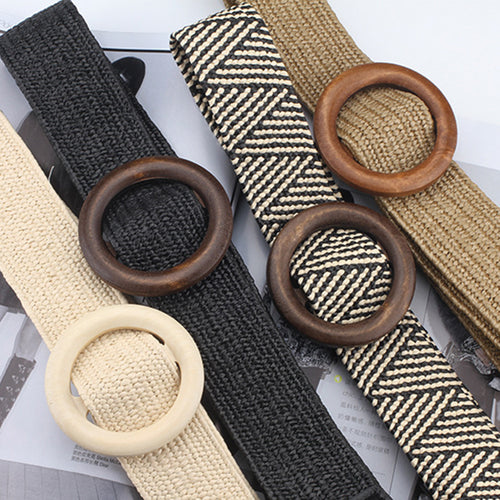 Women's Wooden Buckle knitted Belt