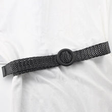Load image into Gallery viewer, women's knitted wooden buckle belt