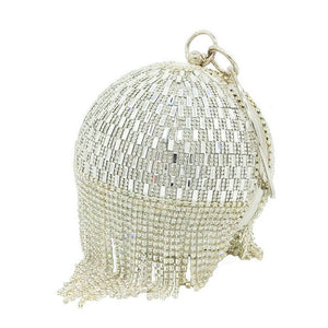 sparkling egg shaped tassel clutch