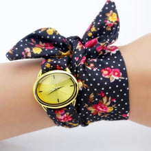 Load image into Gallery viewer, black polka dot cloth watch