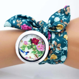 floral cloth watch for women