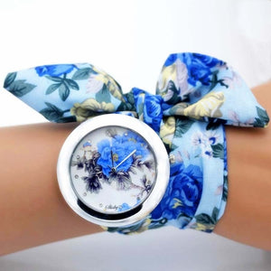 blue floral cloth watch
