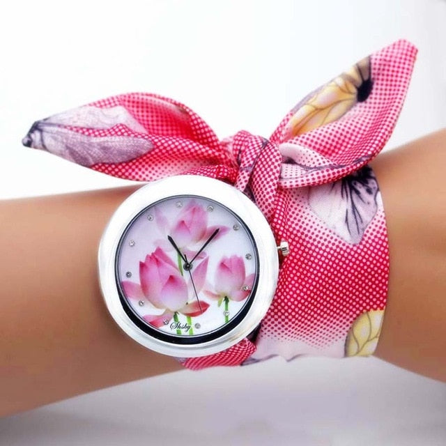 unique flower cloth watch