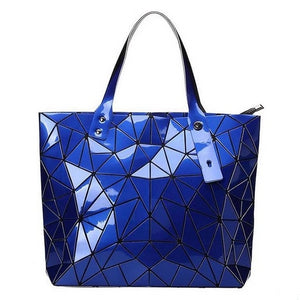 blue geometric print hand bag