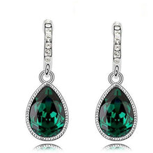 Load image into Gallery viewer, green silver plated drop earrings