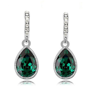 green silver plated drop earrings