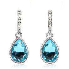 Load image into Gallery viewer, blue and silver pendant earrings