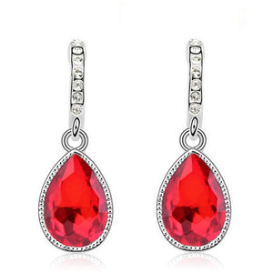 red and silver pendant earrings