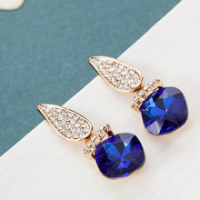 Load image into Gallery viewer, blue and silver drop pendant earrings