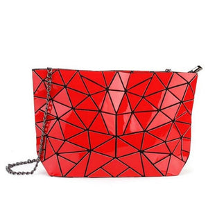 red geometric hand bag