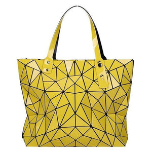 yellow geometric shoulder bag