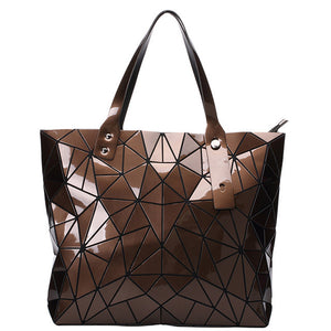 brown geometric shoulder hand bag