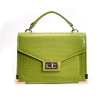 green crocodile hand bag for women