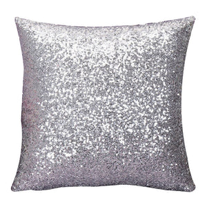silver sparkly cushion cover