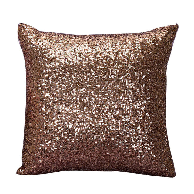 brown glittery cushion cover
