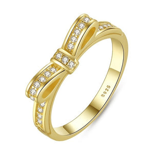 Sparkling Gold Bow Knot CZ Ring