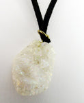 Mystic Iridescent White Quartz Druzy Geode Pendant on Soft Suede Leather Necklace