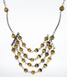 Light Brown, Cat's Eye Beads on a Multi-Strand Silver-tone Necklace