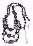 Healing Amethyst Necklace, with Tiny Iridescent Multi-Color Beads
