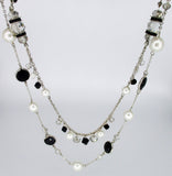 Convertible Station Necklace: Faceted Beads & Faux Pearls WHITE HOUSE BLACK MARKET