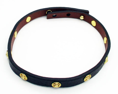 Adjustable Black & Brown Leather Choker with Gold-Tone Four Petal Flower Accents