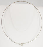 Sleek Choker of Silver-Tone Metal with Ball and Hook Clasp
